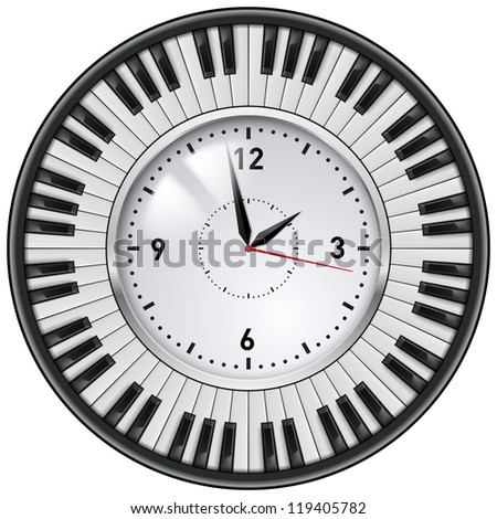 Realistic Office Clock and musical keyboard. Illustration on white background