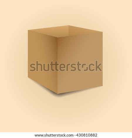 Realistic open cardboard box with shadow isolated on a light background, vector illustration.