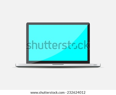 Realistic Open Laptop with blue blank screen isolated on white background. Vector illustration EPS10