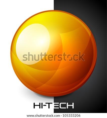 Realistic orange sphere button - stock vector