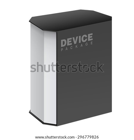 Realistic Package Cardboard Box with transparent plastic window. For electronic device and other products. Vector Illustration - stock vector
