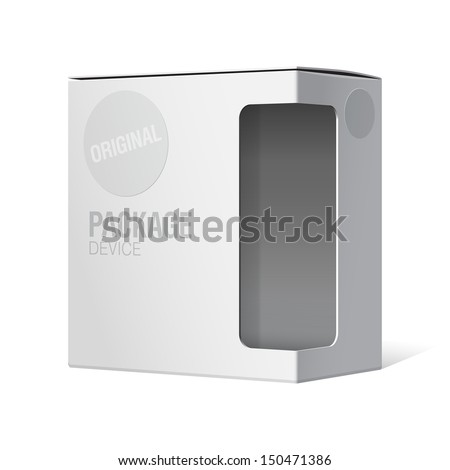 Realistic Package Cardboard Box with window. Vector illustration  - stock vector