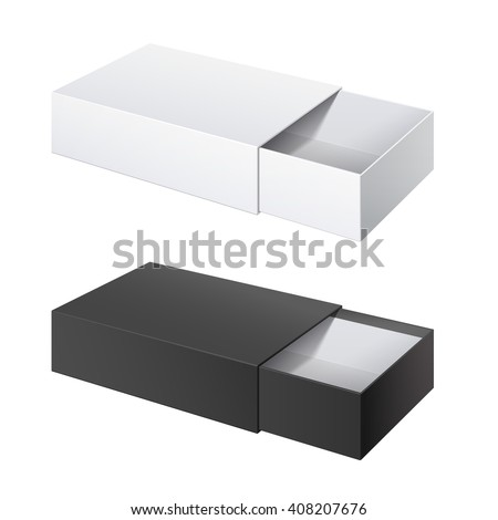 Realistic Package Cardboard Sliding Box Opened. black and White box pack  For small items, matches, and other things. Vector Illustration - stock vector