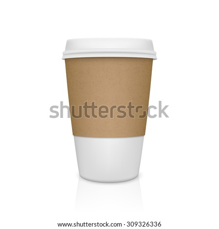 Realistic paper coffee cup with reflection. Vector EPS10 illustration.