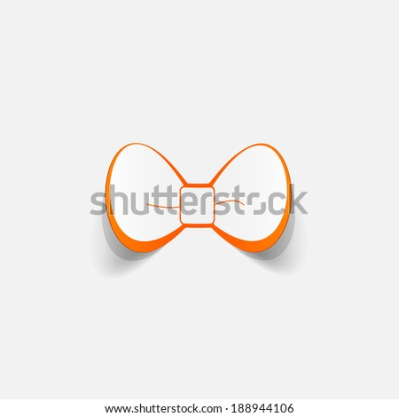 Realistic paper sticker: bow. Isolated illustration icon - stock vector