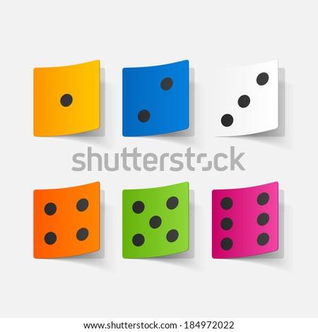 Realistic paper sticker: dice. - stock vector