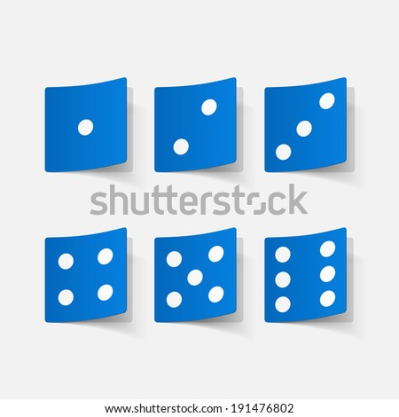Realistic paper sticker: dice. Isolated illustration icon - stock vector