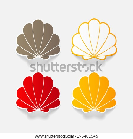 Realistic paper sticker: shell. Isolated illustration icon - stock vector