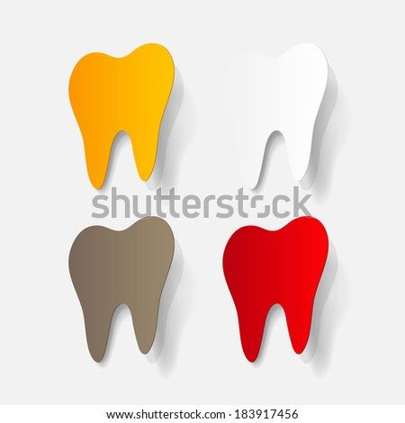 realistic paper sticker: tooth. Isolated illustration icon - stock vector