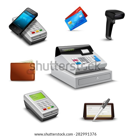Realistic payment set with cheque wallet barcode reader isolated vector illustration - stock vector