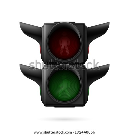 Realistic pedestrian traffic lights off. Illustration on white background