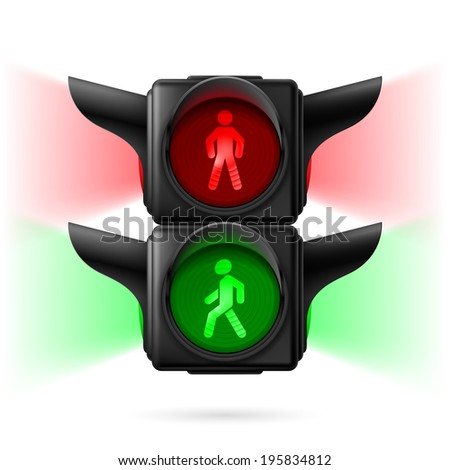 Realistic pedestrian traffic lights with red and green lamps on and sidelight.