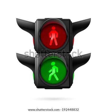 Realistic pedestrian traffic lights with red and green lamps on. Illustration on white background - stock vector
