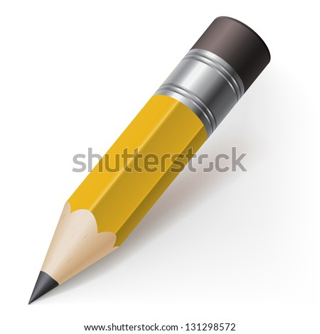 Realistic pencil icon. Illustration on white background - stock vector