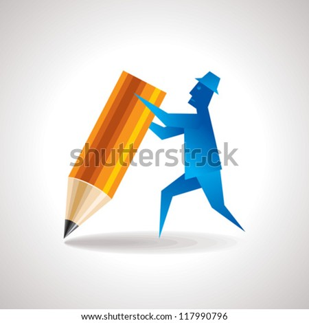 realistic pencil with man - stock vector