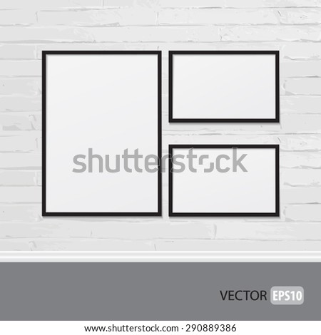 Realistic picture frames on brick wall. Perfect for your presentations. Vector illustration.