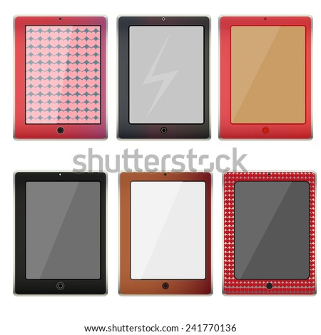Realistic pink, brown, black tablet pc computer with blank screen isolated on white background - stock vector
