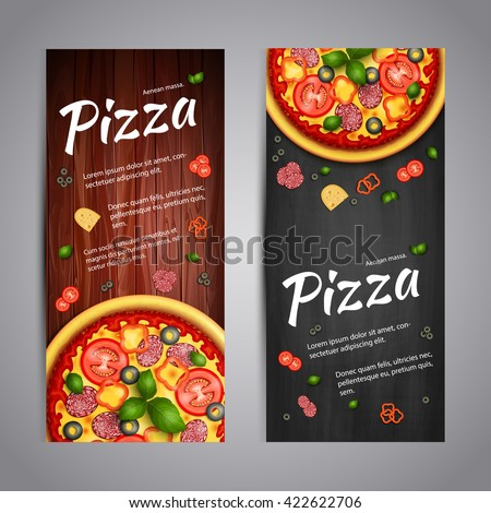 Realistic Pizza Pizzeria flyer vector background. Two vertical Pizza banners with ingredients and text on wooden background and blackboard - stock vector