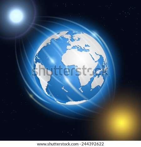 Realistic planet Earth, moon, sun and stars.  - stock vector
