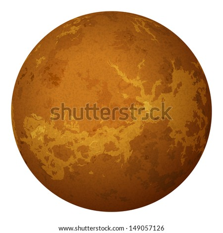 Realistic planet Venus isolated on white background. Elements of this image furnished by NASA (http://solarsystem.nasa.gov). Eps10, contains transparencies. Vector - stock vector