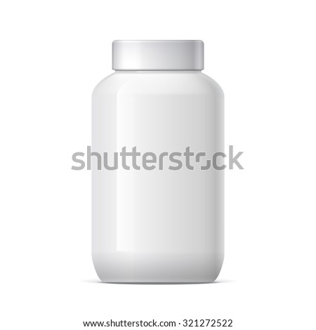 Realistic Plastic Jar with Lid. Mockup Product Packaging For Your Design. Vector Illustration