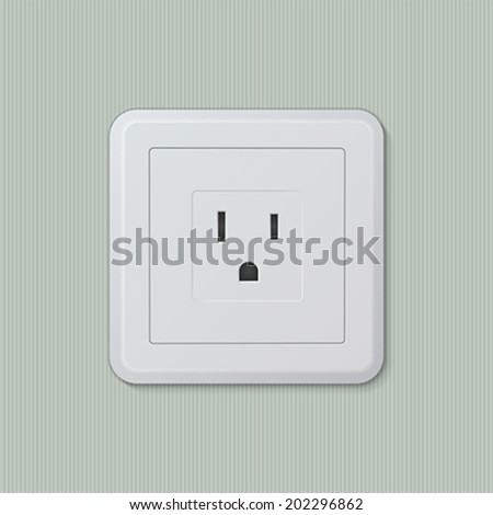 Realistic plastic white electric socket type B (american, japanese). Vector illustration, easy editable.
