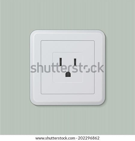 Realistic plastic white electric socket type B (american, japanese). Vector illustration, easy editable. - stock vector