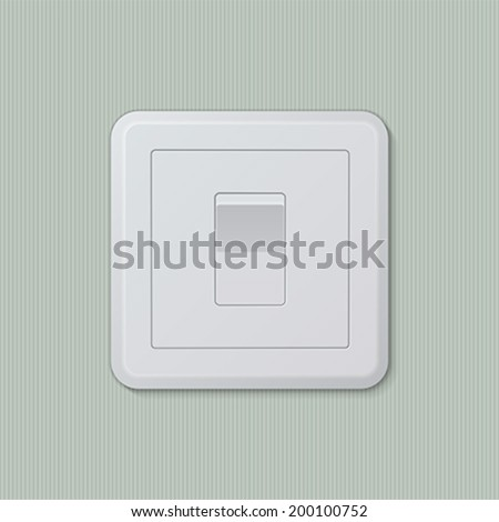 "Realistic plastic white light switch in ""on"" position. Vector illustration, easy editable."