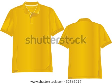Realistic polo shirt template with only linear gradients used. - stock vector
