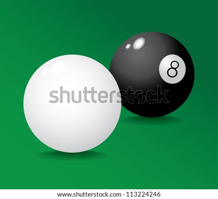 Realistic pool ball 8 and white - illustration