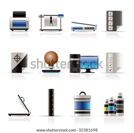 Realistic Print industry icons - Vector Icon set - stock vector