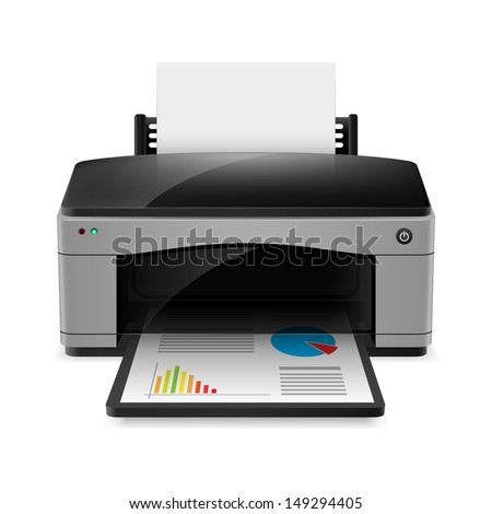 Realistic printer. Illustration on white background for design