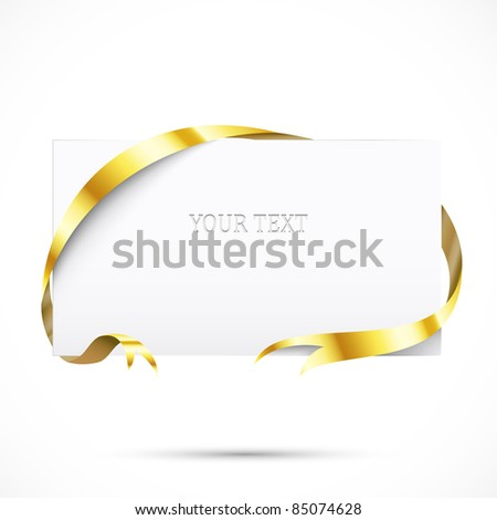 Realistic promo tag. Paper with gold ribbon - stock vector