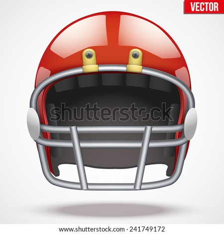 Realistic Red American football helmet with reflex. Equipment sport illustration. Vector Isolated on background. - stock vector