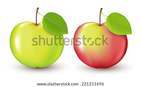 Realistic red and green apple with a leaf. Drawn with mesh. - stock vector