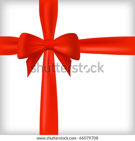 Realistic red bow and ribbon. Vector eps10 illustration