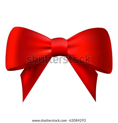 Realistic red bow isolated on white background. Vector eps10 illustration