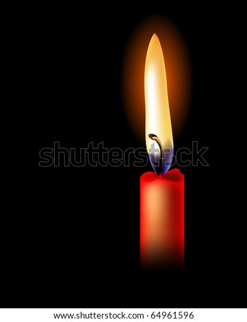 Realistic red candle isolated on black background