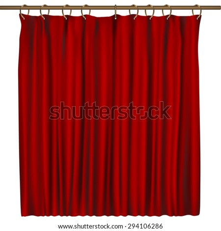 Realistic red curtain. Vector illustration. - stock vector