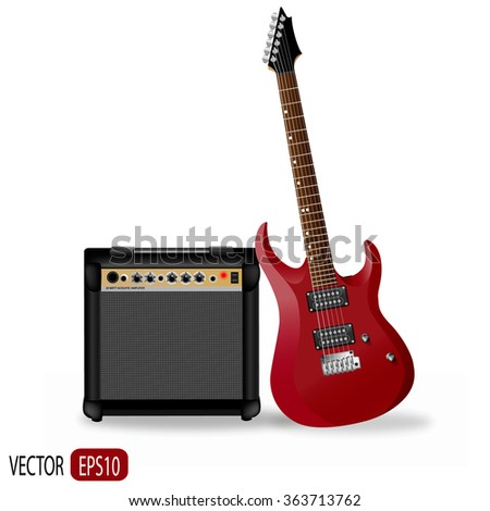 Realistic red electric guitar with amplifier on white background