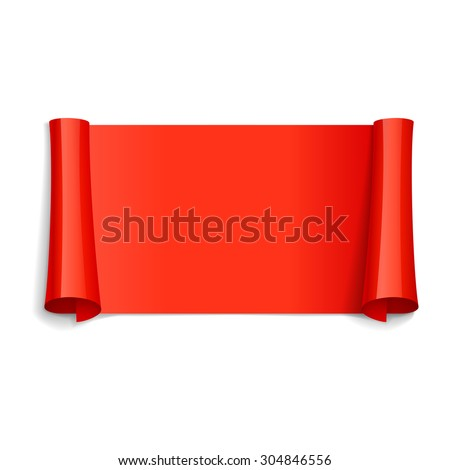 Realistic Red Glossy vector ribbon for your design project - stock vector
