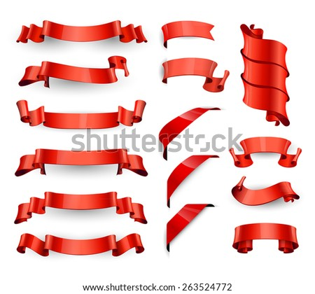 Realistic Red Glossy vector ribbons. Large set - stock vector