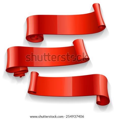 Realistic Red Glossy vector ribbons set - stock vector