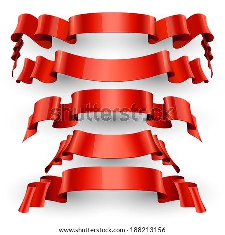Realistic Red Glossy vector ribbons with a stripe for your design project - stock vector