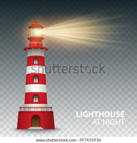 Realistic red lighthouse building isolated on white background. Vector illustration EPS10 - stock vector