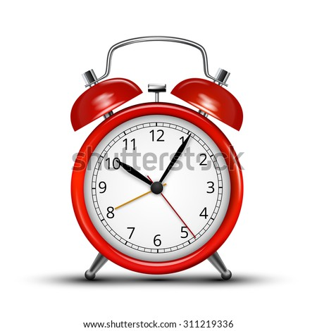 Realistic red metal alarm clocks.  Vector illustration on white background