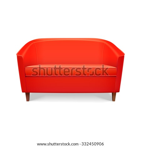 realistic red sofa - stock vector