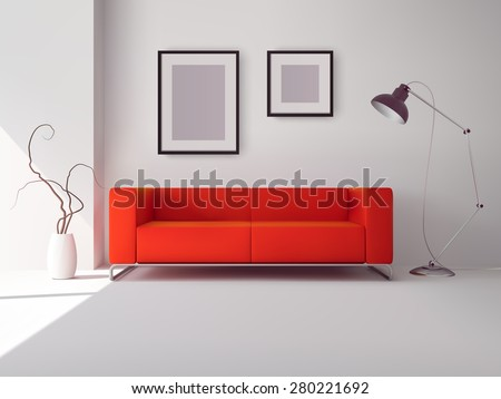 Realistic red square sofa with lamp and picture frames interior vector illustration - stock vector