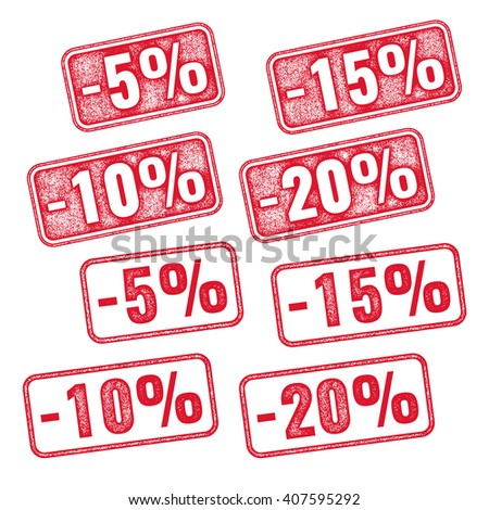Realistic red vector stump with discount 5 10 15 20 - stock vector
