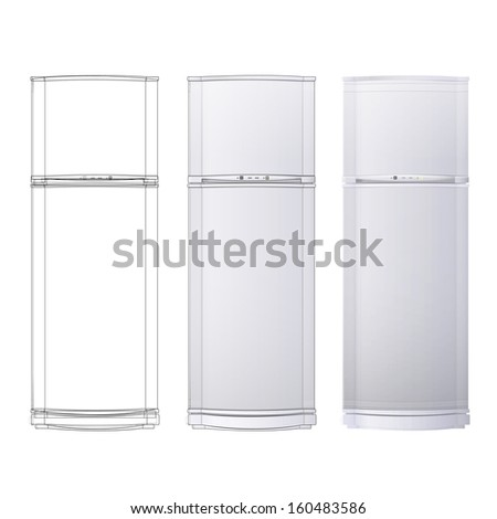 Realistic refrigerator over white background.  - stock vector